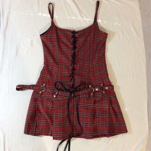 XL Lip Service Plaid Dress corset lacing